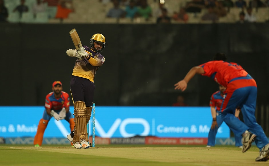 Sunil Narine of the Kolkata Knight Riders hits down the ground for four againstthe Gujarat Lions at Eden Gardens on Friday. Sportzpics - IPL