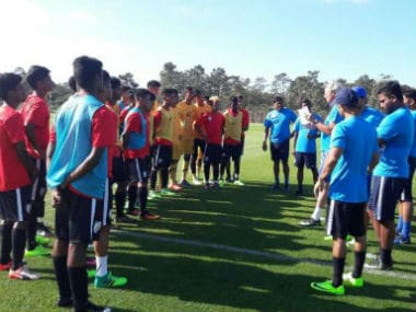 The Indian U-17 team attend a small session ahead of the game against Setubal in Lison. Twitter: @IndianFootball