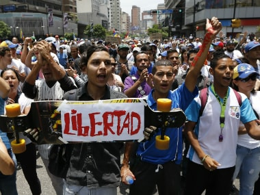 File image of protests against President Nicolas Maduro's administration. AP