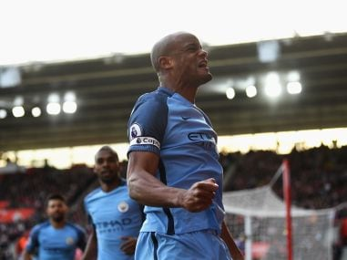 Vincent Kompany of Manchester City celebrates scoring his side's first goal. Getty