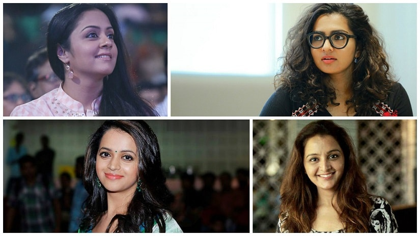 South Indian film actresses Jyothika (clockwise from top left); Parvathy; Manju Warrier and Bhavana have been very vocal about discrimination against women