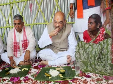 Amit Shah had lunch at a farmer's house in Naxalbari on 25 April. PTI