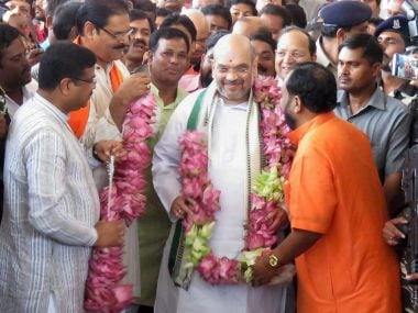 BJP president Amit Shah after his arrival in Bhubaneshwar on Friday. PTI