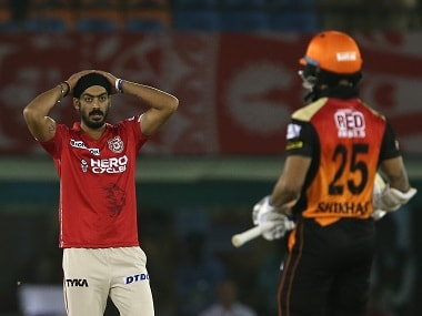 Anureet Singh of Kings XI Punjab reacts after Shikhar Dhawan scores a boundary. Sportzpics/IPL