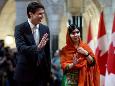 Malala Yousafzai with Justice Trudeau in Ottawa on Thursday.