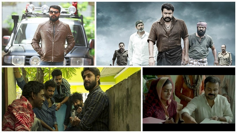 (Clockwise from top left) The Great Father, Pulimurugan, Take Off, Angamaly Diaries