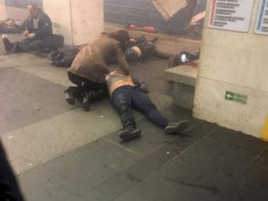 Blast victims lie near a subway train hit by a explosion at the Tekhnologichesky Institut subway station in St Petersburg in Russia on Monday. AP
