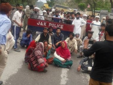 Many sat in protest after the family was attacked in Reasi by gaurakshaks. Image courtesy: Ishfaq Naseem
