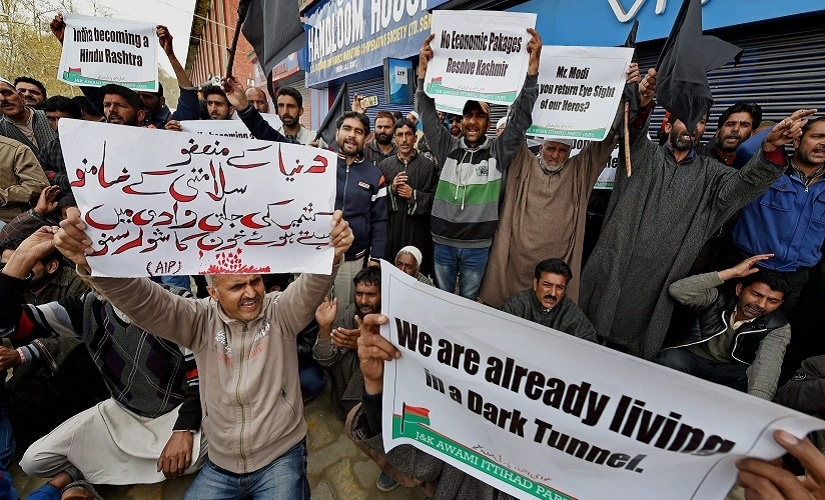 Supporters of the Awami Ittehad Party (AIP) protesting against the visit of Prime Minister Narendra to Jammu and Kashmir. PTI