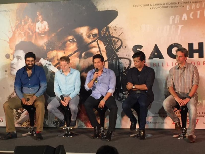 At the trailer launch of Sachin: A Billion Dreams. Image courtesy: Twitter