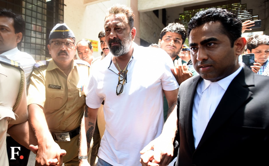 Sanjay Dutt appeared briefly before the Andheri Court Magistrate CV Patil along with a team of lawyers to file his application about the reasons why he failed to attend the hearing previously. Sachin Gokhale/Firstpost