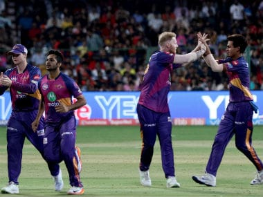 RPS players celebrate the wicket of RCB captain Virat Kohli in Match 17 of IPL. Sportzpics