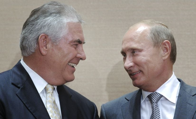 A file photo of Rex Tillerson and Russian President Vladimir Putin. AP