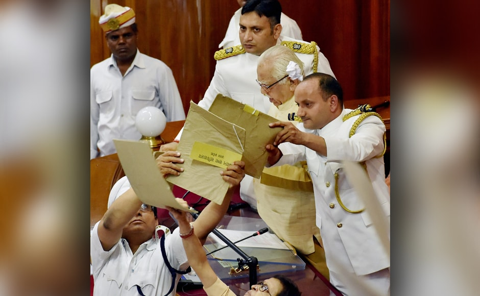 For the first time, proceedings of assembly was shown live by Doordarshan. This is the first time since two decades UP assembly haswitnessed such disruptions.<em>PTI</em>