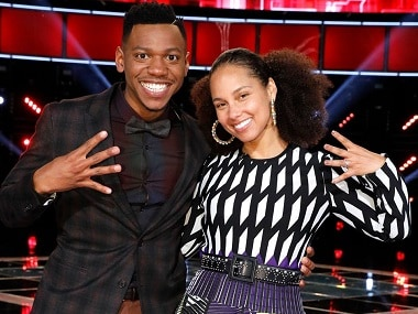 Chris Blue and Alicia Keys on The Voice. Image from Facebook