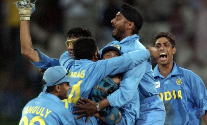 Indian players celebrate the fall of a wicket during the ICC Champions Trophy semi-final against South Africa. AFP