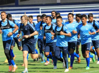 Indian football team trains before Asian Cup qualifying game against Kyrgyzstan. AIFF media