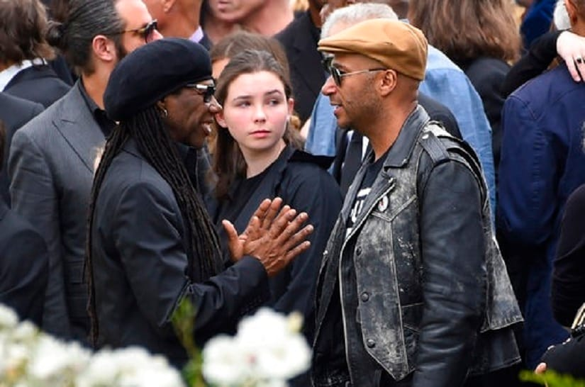 Nile Rodgers, left, and Tom Morello speak at a funeral for Chris Cornell at the Hollywood Forever Cemetery on Friday, May 26, 2017, in Los Angeles. (Photo by Chris Pizzello/Invision/AP)