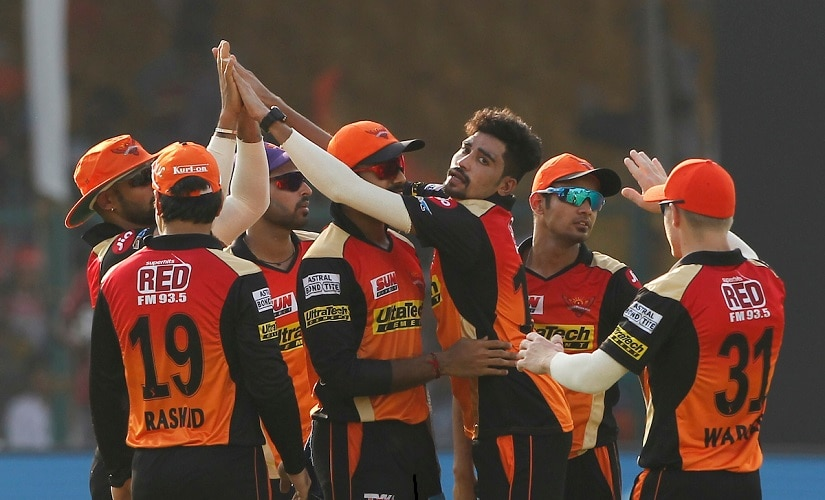 Mohammed Siraj of the Sunrisers Hyderabad celebrates the wicket of Gujarat Lions captain Suresh Raina during match 53 of the Vivo 2017 Indian Premier League between the Gujarat Lions and the Sunrisers Hyderabad held at the Green Park Stadium in Kanpur, India on the 13th May 2017 Photo by Deepak Malik - Sportzpics - IPL