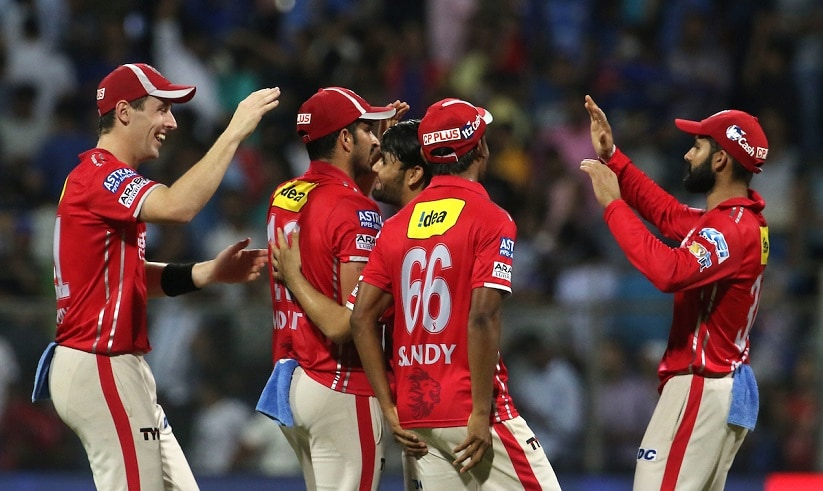 Kings XI Punjab (KXIP) players celebrate after winning the match 51 of the Vivo 2017 Indian Premier League between the Mumbai Indians and the Kings XI Punjab held at the Wankhede Stadium in Mumbai, India on the 11th May 2017 Photo by Vipin Pawar - Sportzpics - IPL