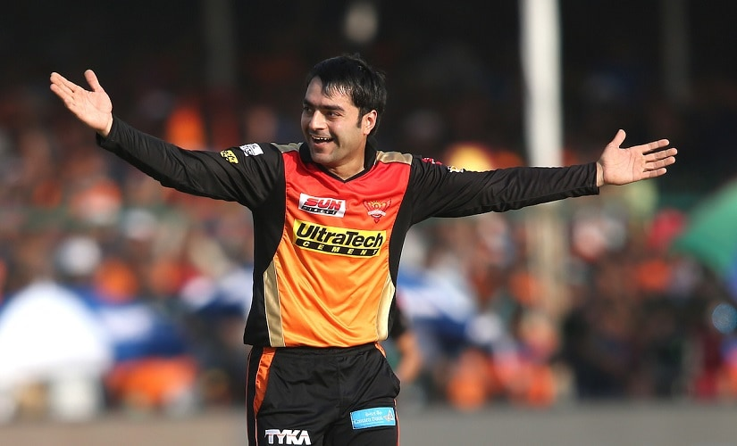 Rashid Khan Arman of the Sunrisers Hyderabad celebrates getting Dinesh Karthik of the Gujarat Lions wicket during match 53 of the Vivo 2017 Indian Premier League between the Gujarat Lions and the Sunrisers Hyderabad held at the Green Park Stadium in Kanpur, India on the 13th May 2017 Photo by Shaun Roy - Sportzpics - IPL
