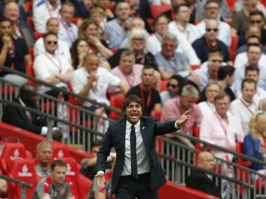 Chelsea's coach Antonio Conte yells instructions at his players during the FA Cup final against Arsenal on Saturday. AFP