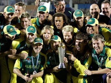 Australian cricketers pose with the 2006 ICC Champions Trophy. AFP