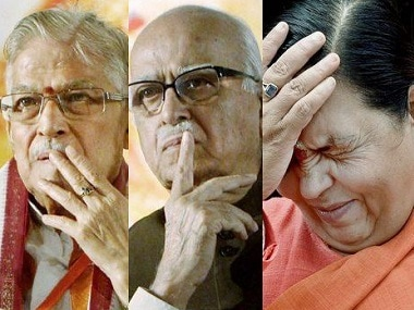 File image of MM Joshi, LK Advani and Uma Bharti. Agencies