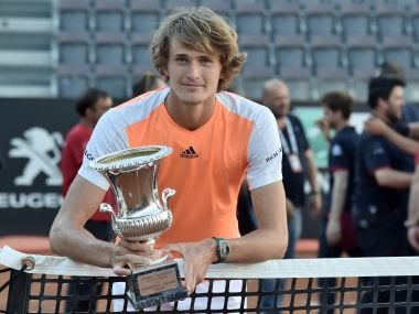 Alexander Zverev with the trophy after winning the Rome Masters final against Novak Djokovic. AFP