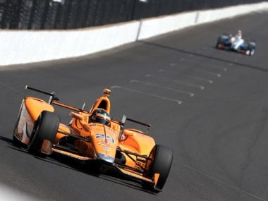 Fernando Alonso, driver of the #29 Chandon Honda, drives during Carb day for the 101st Indianapolis 500. Getty