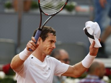 Andy Murray gestures to the crowd after defeating Marius Copil at the Madrid Open. AP