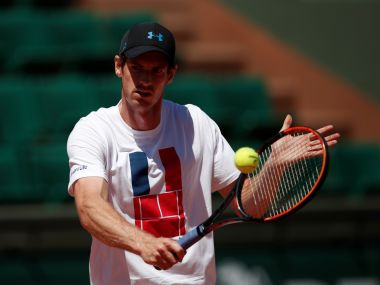 Andy Murray of Britain attends a training session. Reuters