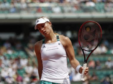 Angelique Kerber reacts against Ekaterina Makarova during their French Open first round. AP