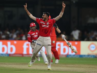 Kings XI Punjab's Axar Patel celebrates after taking a wicket against RCB. SportzPics