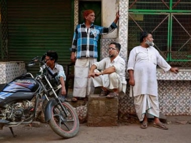 Butchers gather outside meat shops ordered to close in Lucknow. Reuters