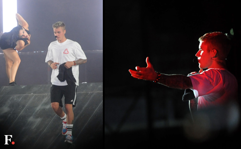 Bieber preferred to go in for the casual look on stage, and did seem a little fatigued with his non-stop touring. Photos: Sachin Gokhale/Firstpost