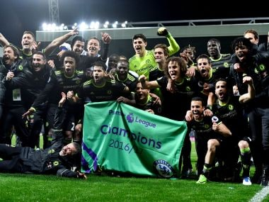 Chelsea players celebrate winning the English Premier League title at The Hawthorns Stadium on Friday. AFP