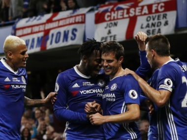 Chelsea players celebrate win over Watford at the Stamford Bridge. AFP
