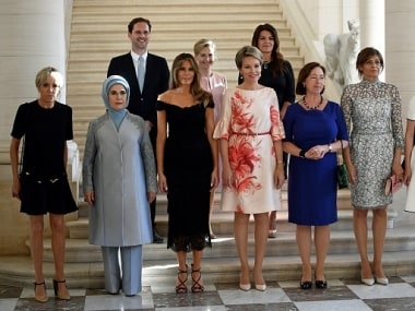 Photo of spouses of NATO leaders. Getty Images