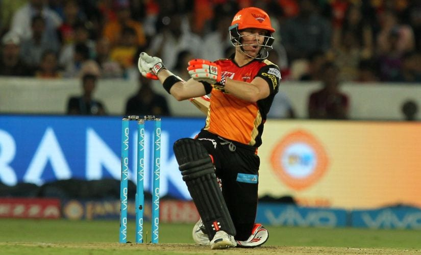 David Warner, captain of Sunrisers Hyderabad, reacts during the match against Rising Pune Supergiant. Sportzpics