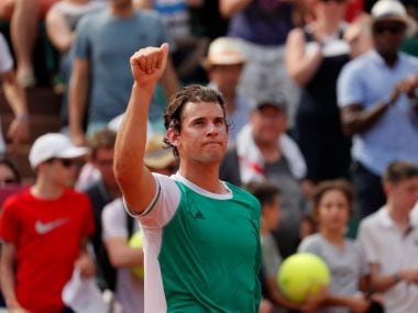 Dominic Thiem celebrates winning his first round match at the French Open. Reuters