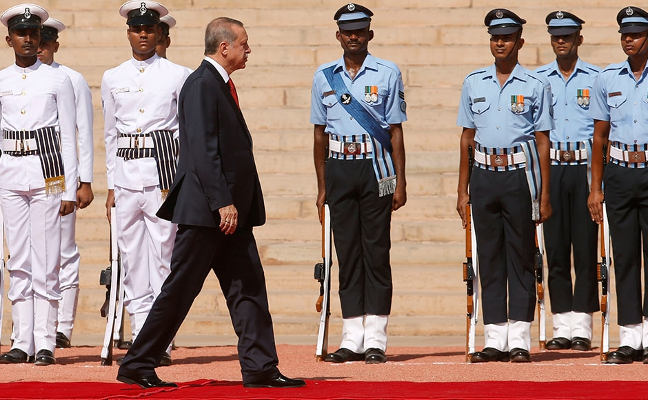 Turkish President Tayyip Erdogan inspects a guard of honour during his ceremonial reception at the forecourt of India's Rashtrapati Bhavan presidential palace in New Delhi on Monday. Reuters