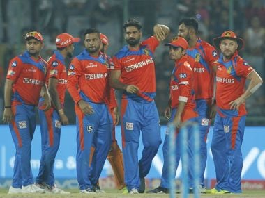 Gujarat Lions players during the match against Delhi Daredevils. Sportzpics/IPL