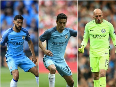 Gael Clichy, Jesus Navas and Willy Caballero have been released by Manchester City. AFP