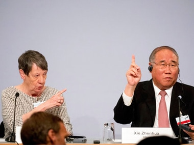 File image of German environment minister Barbara Hendricks (L) with Chinese politician Xie Zhenua at the opening of Petersberg Climate Dialogue in Berlin. AP