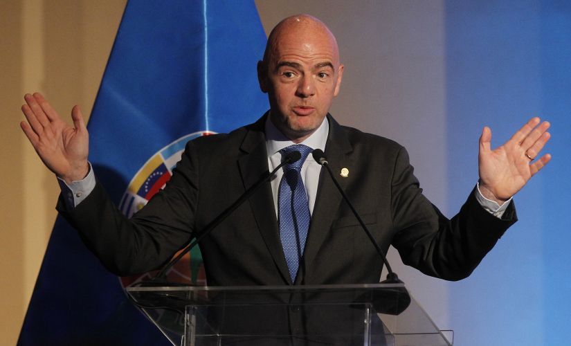 FIFA president Gianni Infantino gives a speech. AFP