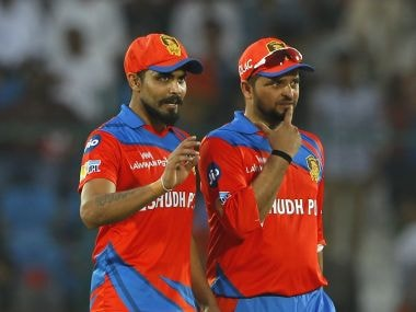 Ravindra Jadeja of the Gujarat Lions talks with captain Suresh Raina during the match against Sunrisers Hyderabad. Sportzpics