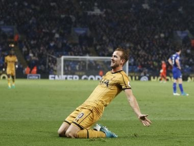 Tottenham Hotspur's Harry Kane celebrates after scoring his third goal against Leicester on Thursday. AFP