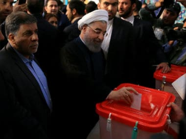 Hassan Rouhani casts his vote in the Iranian presidential polls. Reuters
