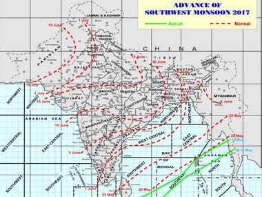 Monsoon will make landfall in India on 30 May in Kerala. Image credit: IMD website